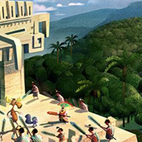 Artes do curta Rocky and Bullwinkle, da DreamWorks, por Chin Ko