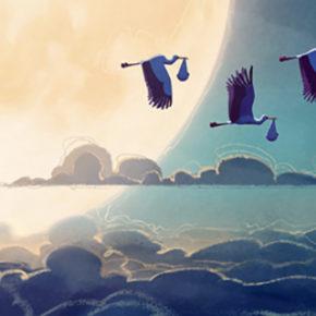 Artes de Paul Lasaine para o filme Storks, do Warner Animation Group