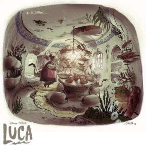 Artes de Sylvain Marc para o filme Luca, do Disney-Pixar