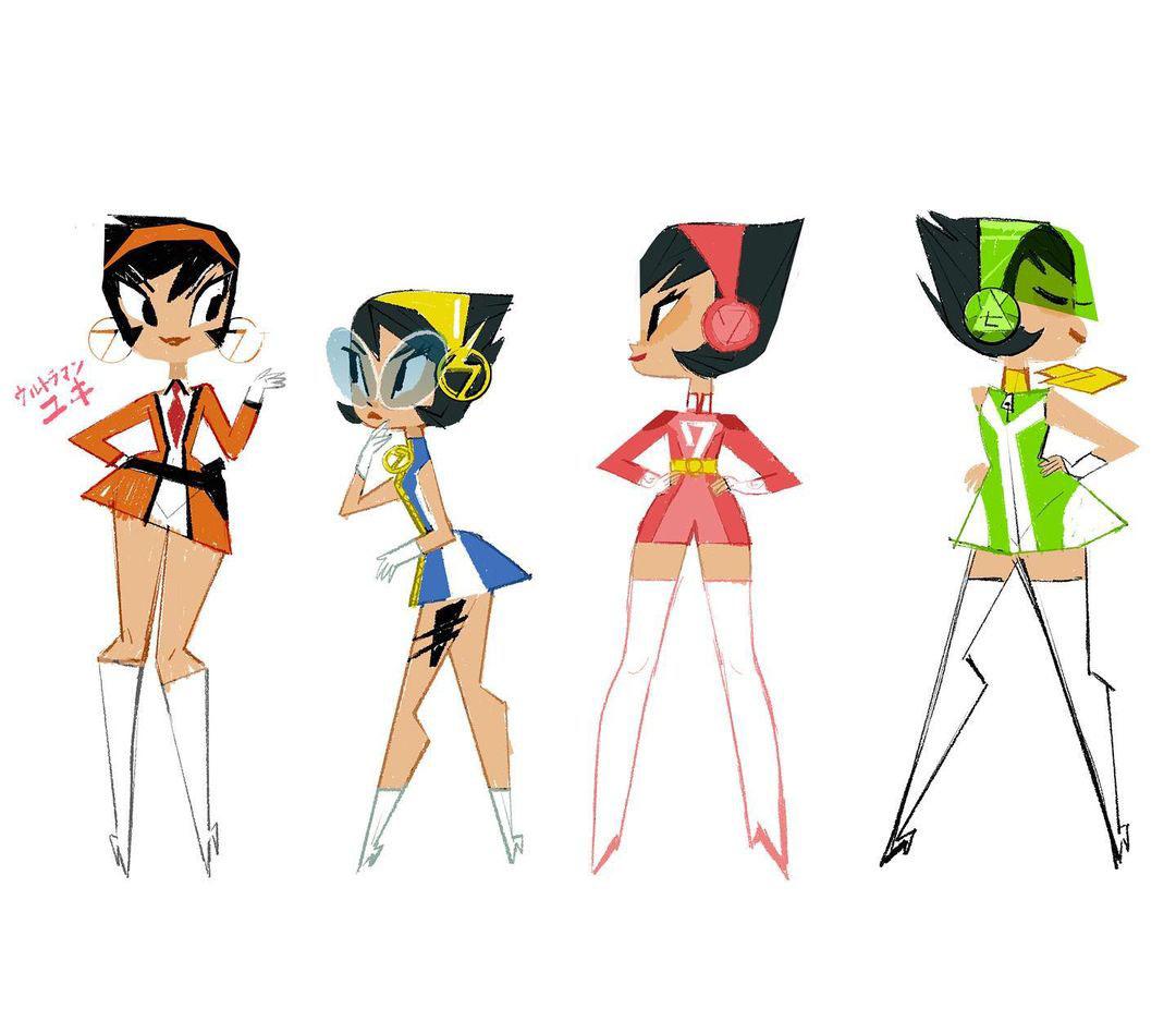 Character Designs de Keiko Murayama para a microssérie Yuki 7